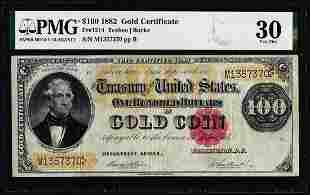 1882 $100 Gold Certificate Note Fr.1214 PMG Very Fine