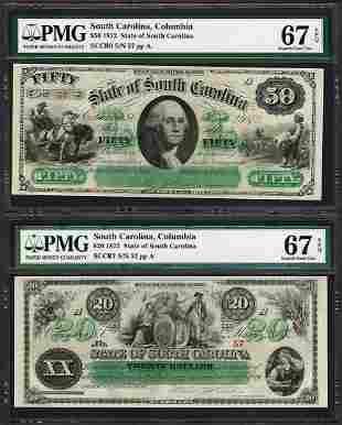 Low Serial Set 1872 $20 & $50 South Carolina Obsolete