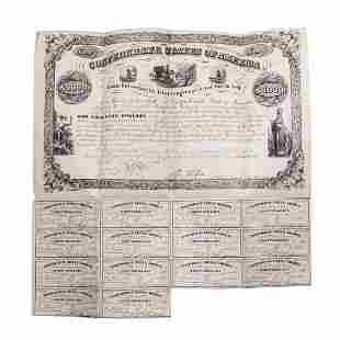 1861 $1,000 Confederate Bond Obsolete Sheet B-25