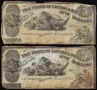 Lot of (2) 1863 $5 The State of Louisiana Baton Rouge,