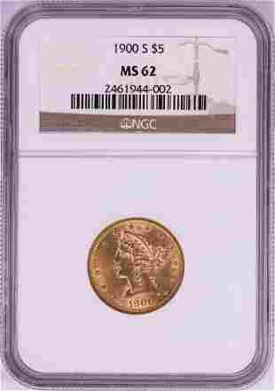 1900-S $5 Liberty Head Half Eagle Gold Coin NGC MS62