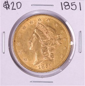 1851 $20 Liberty Head Double Eagle Gold Coin