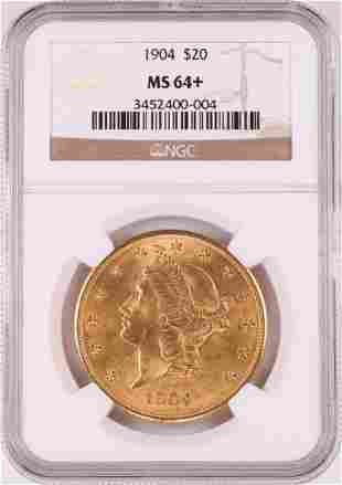 1904 $20 Liberty Head Double Eagle Gold Coin NGC MS64+