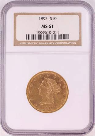1895 $10 Liberty Head Eagle Gold Coin NGC MS61