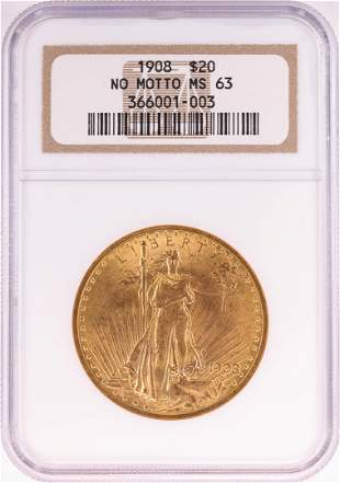 1908 No Motto $20 St. Gaudens Double Eagle Gold Coin