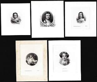 Lot of (5) 1800's Vignette from Original Proof Plates
