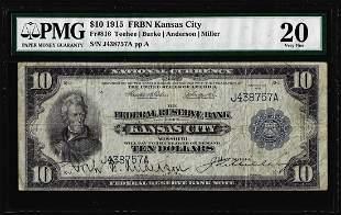 1915 $10 Federal Reserve Bank Note Kansas City Fr.816