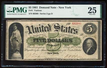 1861 $5 Demand Note New York Fr.1 PMG Very Fine 25