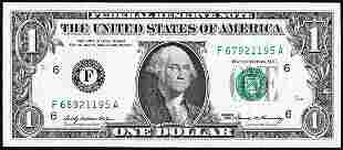 1969 $1 Federal Reserve Note Mismatch Serial Number