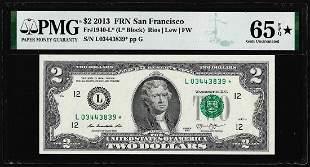 2013 $2 Federal Reserve San Francisco Star Note PMG Gem