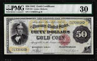 1882 $50 Gold Certificate Note Fr.1193 PCGS Very Fine