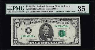 1977A $5 Federal Reserve Note Mismatched Serial Number