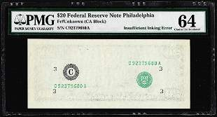 $20 Federal Reserve Note Insufficient Inking Error PMG