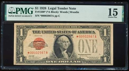 1928 $1 Legal Tender Star Note Fr.1500* PMG Choice Fine
