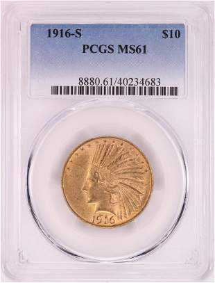 1916-S $10 Indian Head Eagle Gold Coin PCGS MS61