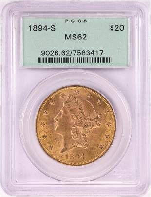 1894-S $20 Liberty Head Double Eagle Gold Coin PCGS