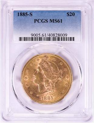 1885-S $20 Liberty Head Double Eagle Gold Coin PCGS