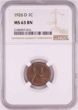 1926-D Lincoln Wheat Cent Coin NGC MS63BN