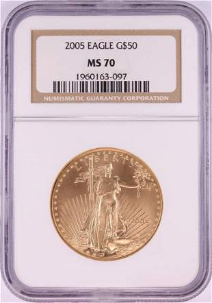 2005 $50 American Gold Eagle Coin NGC MS70
