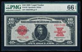 1923 $10 'Poker Chip' Legal Tender Note Fr.123 PMG Gem