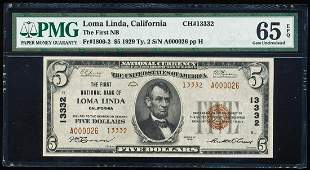 1929 $5 Loma Linda, CA CH# 13332 National Bank Note PMG