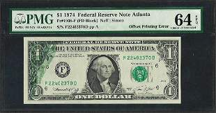 1974 $1 Federal Reserve Note Partial Offset Printing
