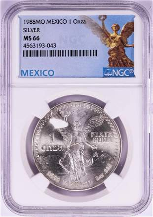 1985Mo Mexico 1 Onza Libertad Silver Coin NGC MS66