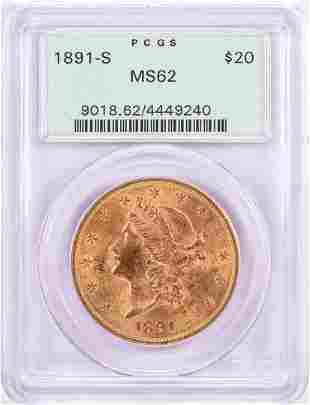 1891-S $20 Liberty Head Double Eagle Gold Coin PCGS