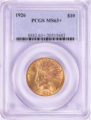 1926 $10 Indian Head Eagle Gold Coin PCGS MS63+