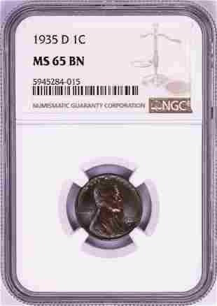 1935-D Lincoln Wheat Cent Coin NGC MS65BN