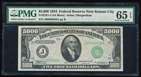 1934 $5,000 Federal Reserve Note Kansas City Fr.2221-J