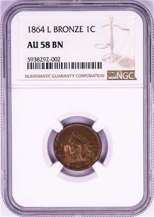 1864 L Bronze Indian Head Cent Coin NGC AU58BN