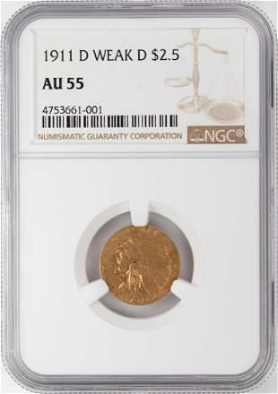 1911-D Weak D $2 1/2 Indian Head Quarter Eagle Gold
