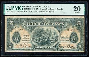1913 $5 Bank of Ottawa, Dominion of Canada Bank Note