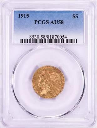 1915 $5 Indian Head Half Eagle Gold Coin PCGS AU58