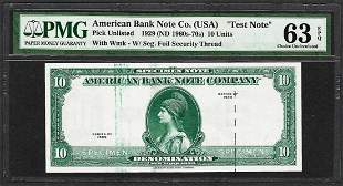 """1929 10 Unit American Bank Note Co. """"Test Note"""" PMG"""