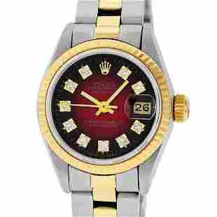 Rolex Ladies Two Tone Red Vignette Diamond Oyster
