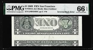 2009 $1 Federal Reserve Note Inverted Back ERROR