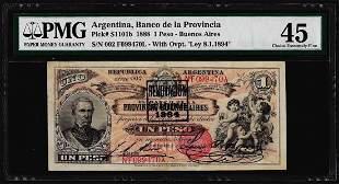 1888 Argentina Un Peso Banco de La Provincia Bank Note