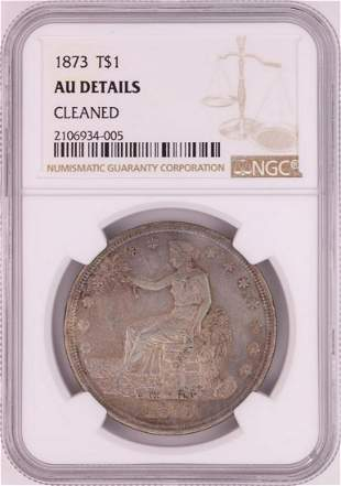 1873 $1 Silver Trade Dollar Coin NGC AU Details