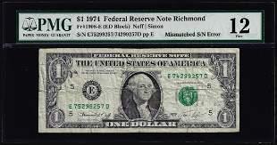 1974 $1 Federal Reserve Note Mismatched Serial Number