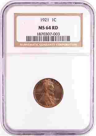 1921 Lincoln Wheat Cent Coin NGC MS64RD