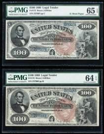 Consecutive Pair 1880 $100 Legal Tender Notes Fr.172