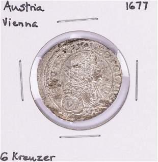 1677 Austria Vienna 6 Kreuzer Silver Coin