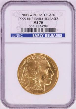 2008-W $50 American Buffalo Gold Coin NGC MS70 Early