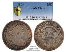 1804 Flowing Hair Quarter Dollar Coin PCGS VG10