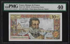 1959-61 France 50 Nouveaux Francs Currency Note Pick#