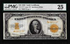 1922 $10 Gold Certificate STAR Note Fr.1173* Large S/N