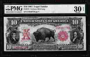 1901 $10 Bison Legal Tender Note Fr.117 PMG Very Fine