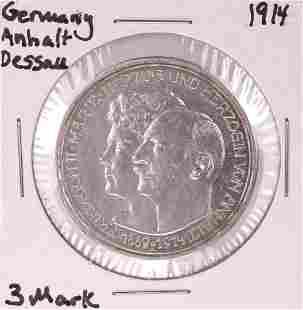 1914 Germany Anhalt Dessall 3 Mark Silver Coin